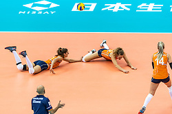 07-10-2018 JPN: World Championship Volleyball Women day 8, Nagoya<br /> Netherlands - Puerto Rico 3-0 / Anne Buijs #11 of Netherlands, Nicole Koolhaas #22 of Netherlands