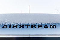 Our Airstream trailer wears a frosty crown on a chilly morning in Bellevue, Washington
