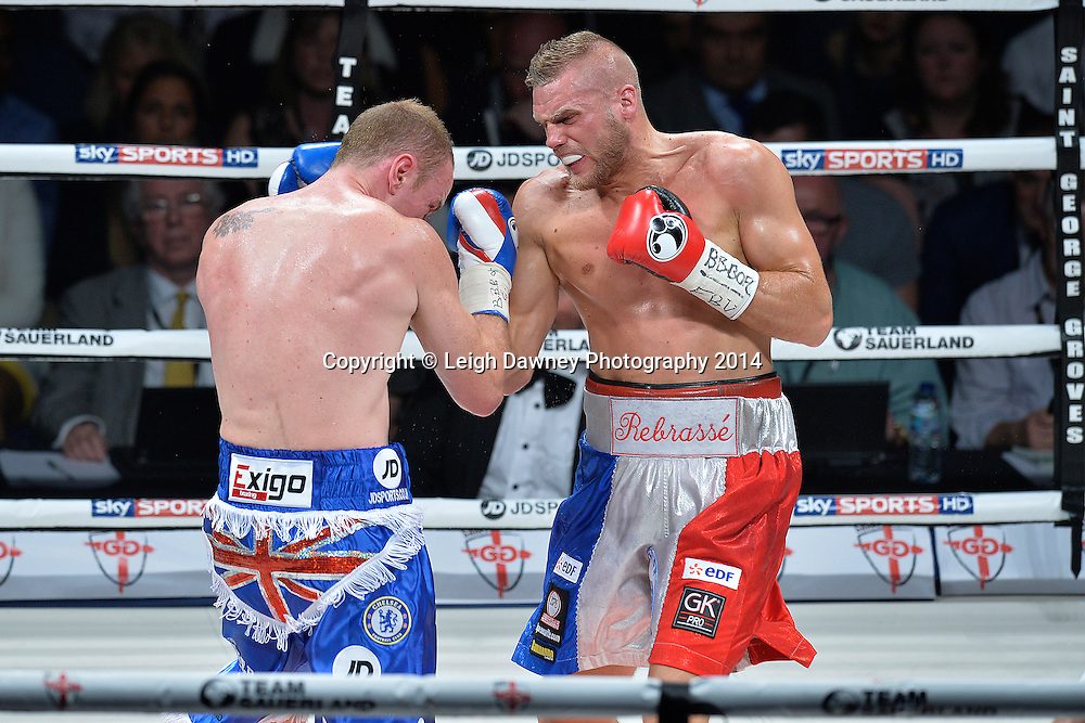 George Groves (left) defeats Christopher Rebrasse for the EBU (European) Super Middleweight Title & Vacant WBC Super Middleweight Title at the SSE Wembley Arena, London on the 20th September 2014. Sauerland Promotions. Credit: Leigh Dawney Photography.
