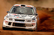Geoff Argyle & Steve Smith on SS10.Mitsubishi Lancer Evo VI.2003 Rally of Canberra .Canberra, ACT, Australia.26th of April 2003.(C) Joel Strickland Photographics