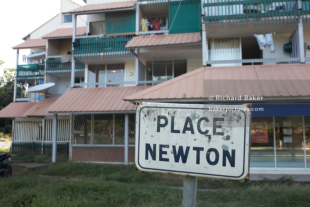 Signpost in Kourou, named after English gravity scientist, Sir Isaac Newton in French Guiana, home of ESA's Spaceport.