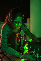 A student uses a laser in the JET laser lab. Photo by Marc Hall