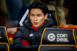 WOLVERHAMPTON, ENGLAND - Thursday, January 23, 2020: Liverpool's substitute Takumi Minamino on the bench before the FA Premier League match between Wolverhampton Wanderers FC and Liverpool FC at Molineux Stadium. (Pic by David Rawcliffe/Propaganda)