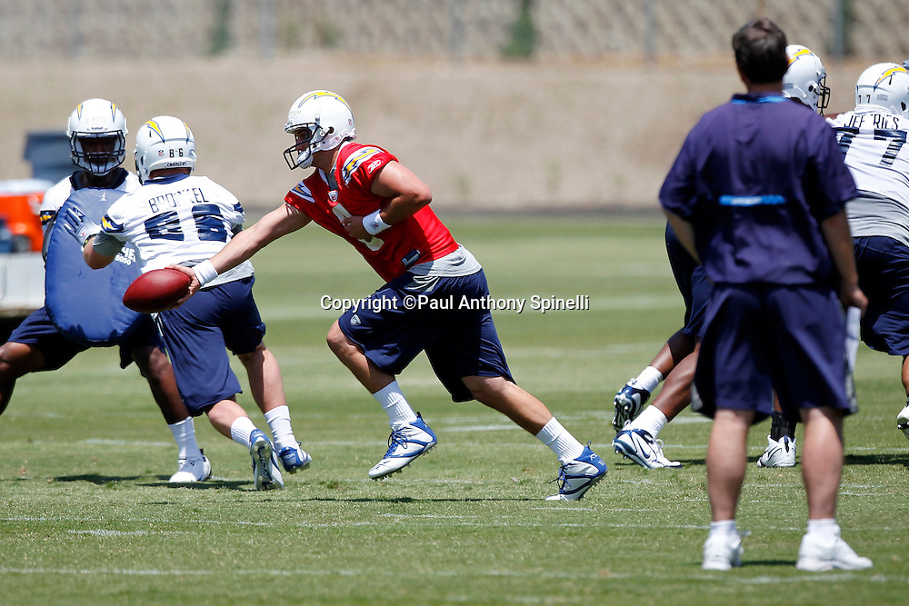 San Diego Chargers rookie quarterback Jonathan Crompton (8) hands off the ball during a Chargers rookie minicamp on May 7, 2010 in San Diego, California. (©Paul Anthony Spinelli)