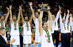 Felipe Reyes of Spain and other players of Spain celebrate at medal ceremony after the final basketball game between National basketball teams of Spain and France at FIBA Europe Eurobasket Lithuania 2011, on September 18, 2011, in Arena Zalgirio, Kaunas, Lithuania. Spain defeated France 98-85 and became European Champion 2011. (Photo by Vid Ponikvar / Sportida)