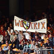 American Football, Amsterdam Admirals - Cologne Centurions, publiek, fans, tribune, spandoek we love trix