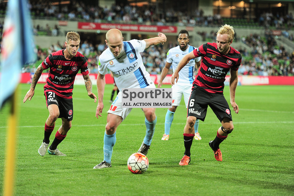 Jacob Pepper of Western Sydney Wanderers FC,Aaron Mooy of Melbourne City, Mitch Nichols of Western Sydney Wanderers FC - Hyundai A-League, January 9th 2016, RD14 match between Melbourne City FC v Western Sydney Wanderers FC at Aami Park in a 3:2 win to City. Melbourne, Australia. © Mark Avellino | SportPix.org.uk
