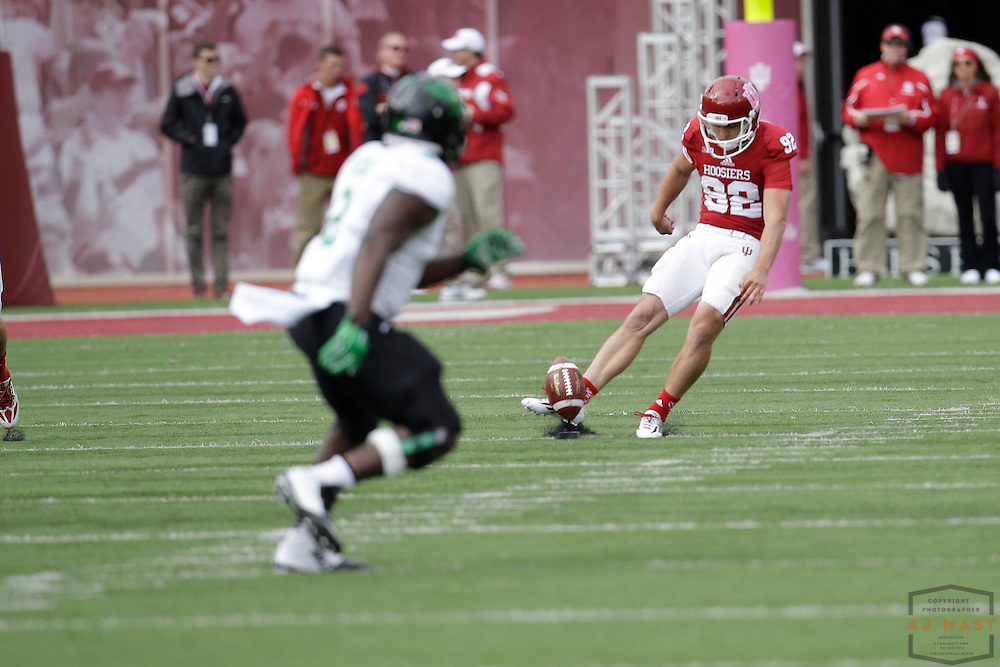 04 October 2014: Indiana Hoosiers wide receiver Caleb Cornett (82)  as the Indiana Hoosiers played North Texas in a NCAA college football game in Bloomington, IN.