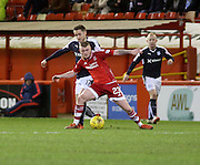 Aberdeen&rsquo;s Craig Storie holds off Dundee&rsquo;s Nick Ross - Aberdeen v Dundee, Ladbrokes Premiership at Pittodrie<br /> <br />  - &copy; David Young - www.davidyoungphoto.co.uk - email: davidyoungphoto@gmail.com