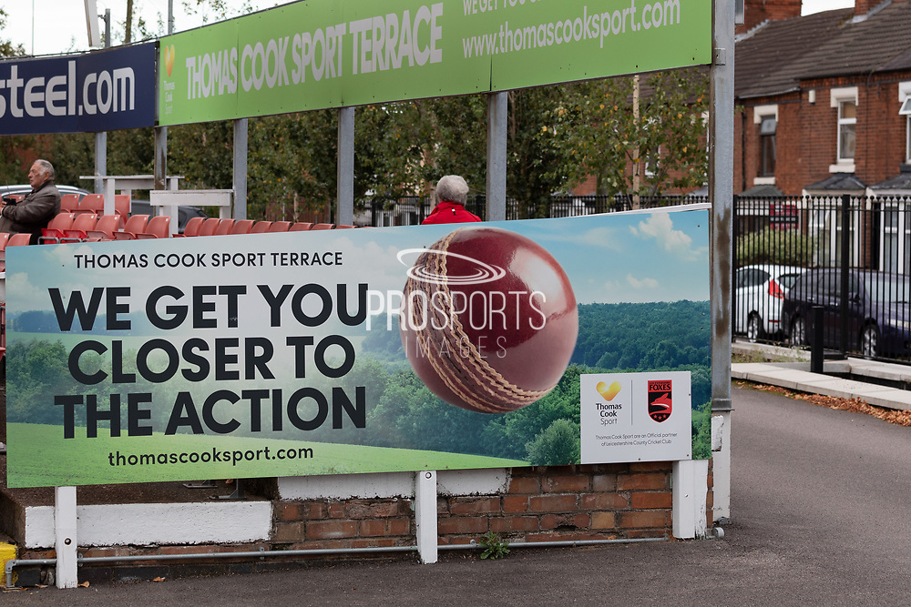 Thomas Cook sports terrace at Grace Rd the Specsavers County Champ Div 2 match between Leicestershire County Cricket Club and Lancashire County Cricket Club at the Fischer County Ground, Grace Road, Leicester, United Kingdom on 23 September 2019.