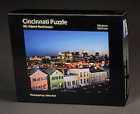 A challenging puzzle featuring a the Organ Street rowhouses with a Cincinnati skyline in the background. 550 pieces, 18x24 size. $21.95