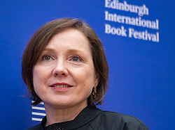 """Edinburgh, Scotland, UK. 26 August, 2018. Pictured; Author Lavinia Greenlaw's book """"In the City of Love's Sleep"""" is the story of two people who meet in mid-life and tumble helplessly into a love affair beyond their control."""