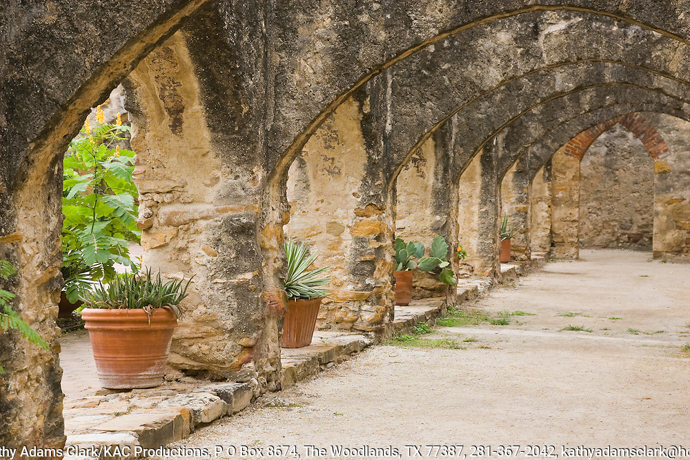 Detail of the repeated arches on the convento at the Mission San José. It is the largest mission on the Mission Trail in San Antonio, Texas.