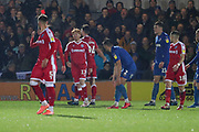 Gillingham midfielder Ben Pringle (17) red card, sent off during the EFL Sky Bet League 1 match between AFC Wimbledon and Gillingham at the Cherry Red Records Stadium, Kingston, England on 23 November 2019.