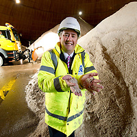 Scottish Transport Minister Keith Brown MSP pictured at the Tayside Contracts Ruthvenfield Depot in Perth where he visited this morning (03.10.09) to inspect winter preparedness as October marks the start of the 'Winter Service' period...He is pictured in the salt dome with the stockpiles of road salt.<br /> Picture by Graeme Hart.<br /> Copyright Perthshire Picture Agency<br /> Tel: 01738 623350  Mobile: 07990 594431