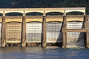 Afternoon light on the spillway at the Bonneville Dam, Columbia River Gorge National Scenic Area, Oregon