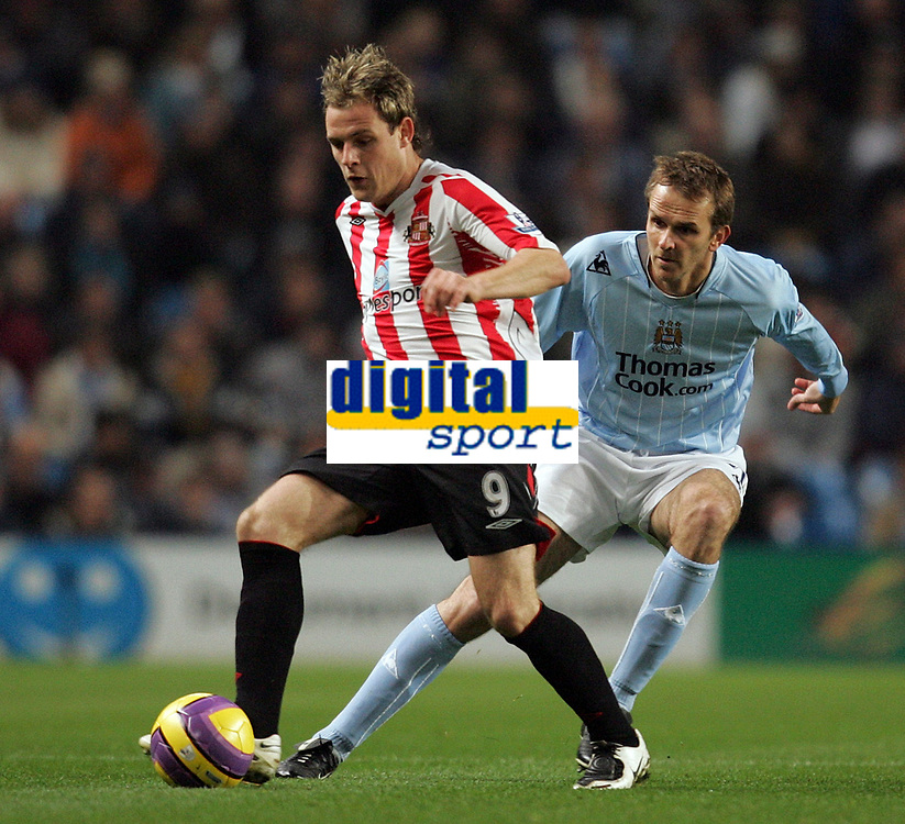 Photo: Paul Thomas/Sportsbeat Images.<br /> Manchester City v Sunderland. The FA Barclays Premiership. 05/11/2007.<br /> <br /> Anthony Stokes (L) is covered by City's Dietmar Hamann.