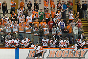 2012/03/11 - RIT celebrates a 3-0 victory in Game 3 of the Atlantic Hockey quarterfinals between Bentley and RIT in Rochester. RIT's win advances them to the AHA Semifinals.