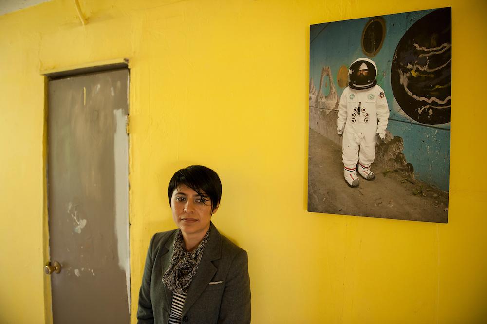 Ingrid Hernandez, photographer, at her house in Tijuana...© Stefan Falke.http://www.stefanfalke.com/..