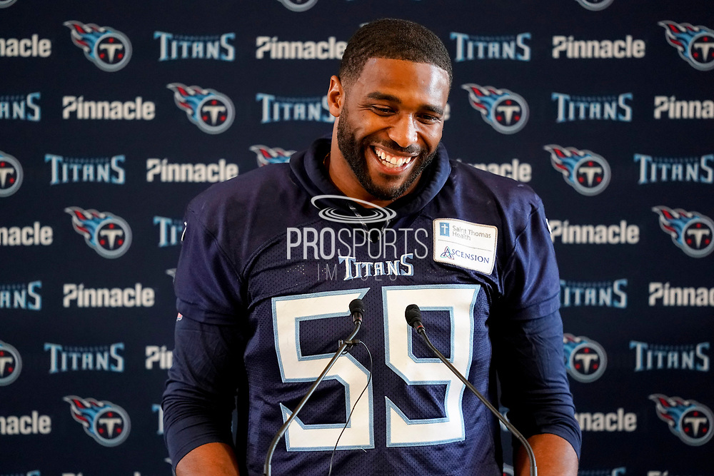 Tennessee Titans Wesley Woodyard ILB (59) during the Tennessee Titans pre-match press conference at Syon House, Brentford, United Kingdom on 19 October 2018.