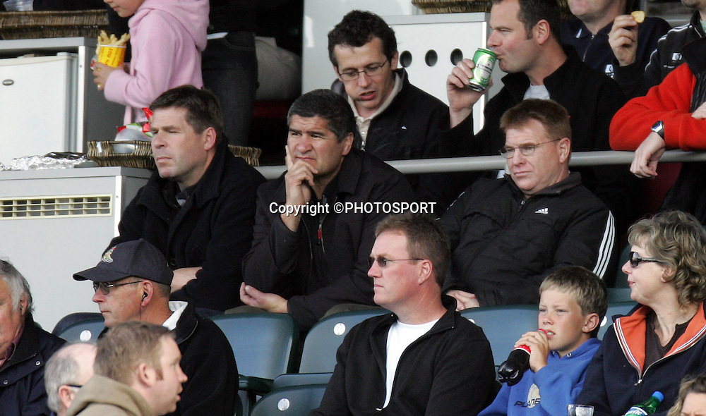 Wellington coaches Colin Cooper and Aussie McLean watch from the grandstand during the Air New Zealand Cup quarter final rugby match between Auckland and Bay of Plenty at Eden Park, Auckland, on Saturday 7 October 2006. Auckland won the match 46-14. Photo: Andrew Cornaga/PHOTOSPORT<br /><br /><br />071006