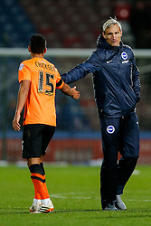 Brighton Manager Sami Hyypia thanks Adam Chicksen of Brighton after the match ends in a 1-1 draw - Photo mandatory by-line: Rogan Thomson/JMP - 07966 386802 - 21/10/2014 - SPORT - FOOTBALL - Huddersfield, England - The John Smith's Stadium - Huddersfield Town v Brighton & Hove Albion - Sky Bet Championship.