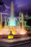 Night view of colorful lighted Lions Fountain