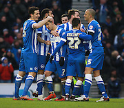 Brighton central midfielder Beram Kayal celebrates the winning goal during the Sky Bet Championship match between Brighton and Hove Albion and Bolton Wanderers at the American Express Community Stadium, Brighton and Hove, England on 13 February 2016. Photo by Bennett Dean.