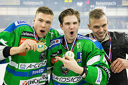 Sebastan Hadzic of Olimpija, Luka Kalan of Olimpija celebrate after they became Slovenian National Champion 2016 after winning during ice hockey match between HDD Telemach Olimpija and HDD SIJ Acroni Jesenice in Final of Slovenian League 2015/16, on April 11, 2016 in Hala Tivoli, Ljubljana, Slovenia. Photo by Vid Ponikvar / Sportida