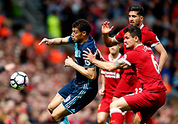 Rudy Gestede of Middlesbrough and Dejan Lovren of Liverpool - Mandatory by-line: Matt McNulty/JMP - 21/05/2017 - FOOTBALL - Anfield - Liverpool, England - Liverpool v Middlesbrough - Premier League