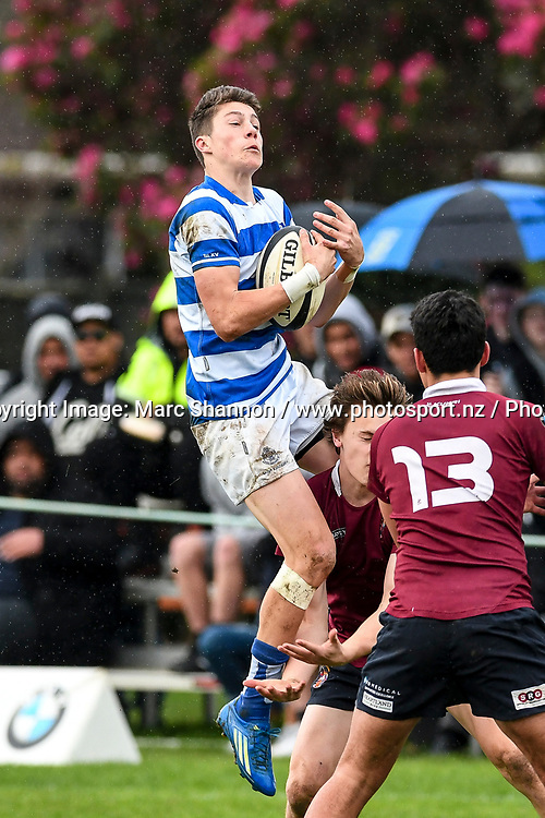 St Kentigern Lui Scholtens leaps high to grab the ball during a match against Kings College.<br /> Kings College v St Kentigern, Auckland Secondary Schools First XV rugby union, Kings College, Auckland, New Zealand. 12 August 2017. &copy; Copyright Image: Marc Shannon / www.photosport.nz.