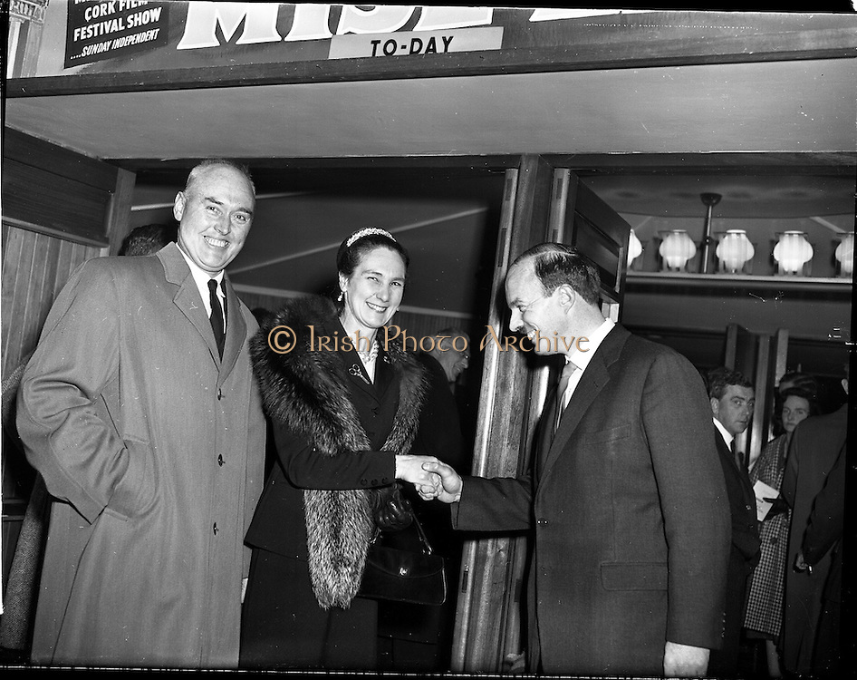 05/02/1960<br /> 02/05/1060<br /> 05 February 1960 <br /> Premiere of Mise Eire at the Regal Cinema, Dublin.  Image shows on right, Donall &Oacute; Morain, right, Chairman Gael Linn, welcoming attendees to the movie premiere.