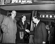 05/02/1960<br /> 02/05/1060<br /> 05 February 1960 <br /> Premiere of Mise Eire at the Regal Cinema, Dublin.  Image shows on right, Donall Ó Morain, right, Chairman Gael Linn, welcoming attendees to the movie premiere.