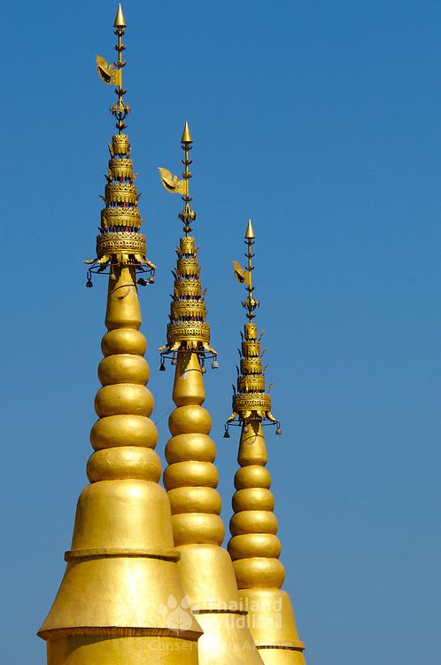 Spires on a Thai-Burmese temple at ban Tuea Leua in Tak, Thailand.