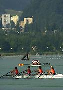 11/07/03/03 .2003 FISA Rowing World Cup - Lucerne.- Switzerland NED LW4X. Rowing Course, Lake Rottsee, Lucerne, SWITZERLAND. [Mandatory Credit: Peter Spurrier:intersport Images]