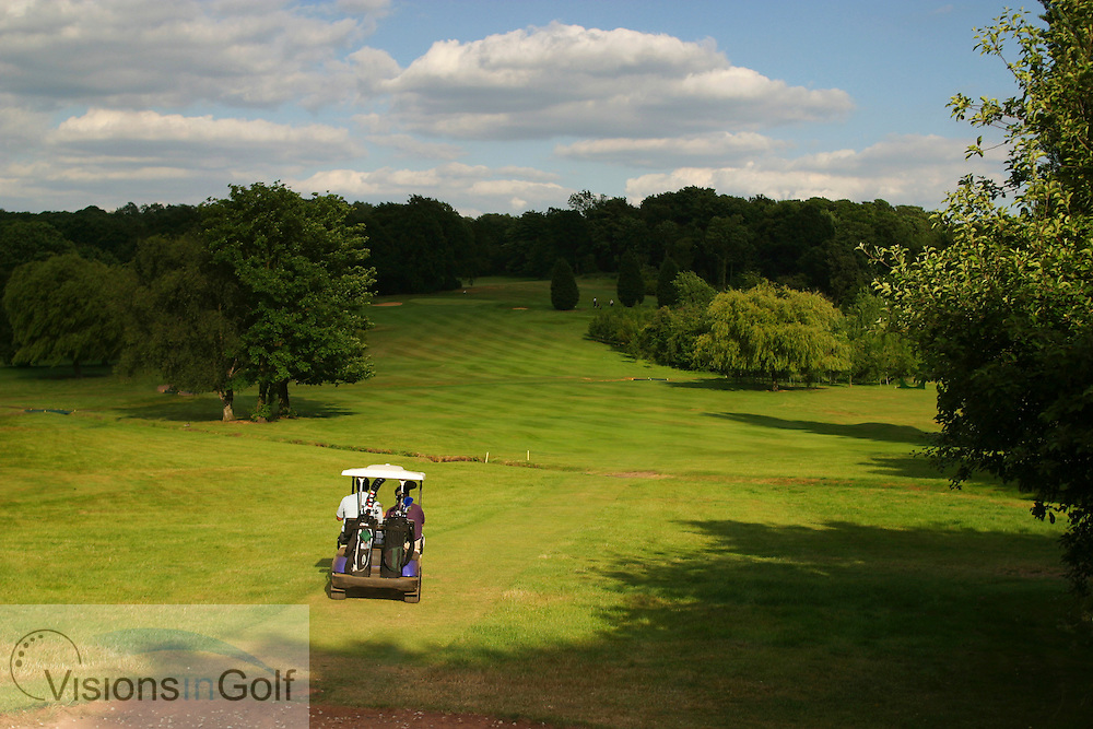 A golf cart playing 17th hole at Sundridge Park GC, West Course, Bromley, Kent. <br /> <br /> Photo Mark Newcombe / visionsingolf.com