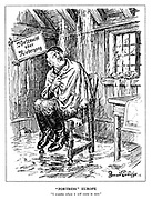 """Fortress"" Europe. ""I wonder where it will come in next."" (Hitler sits on a chair under a leaky roof as his 'Wehrmacht or Demise' notice is lopsided and a map showing Frankreich sits on a table after the Allied invasion of Europe)"