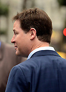 "© Licensed to London News Pictures. 11/04/2013. London, UK. Deputy Prime Minister Nick Clegg leaves his weekly radio show at LBC radio station in Leicester Square, London, today 11th April 2013. He was asked to about comments actress Joan Collins had made on Twitter about wether or not he ""tinted"" his hair. Mr Clegg laughed off and denied that he did dye his hair. Photo credit : Stephen Simpson/LNP"