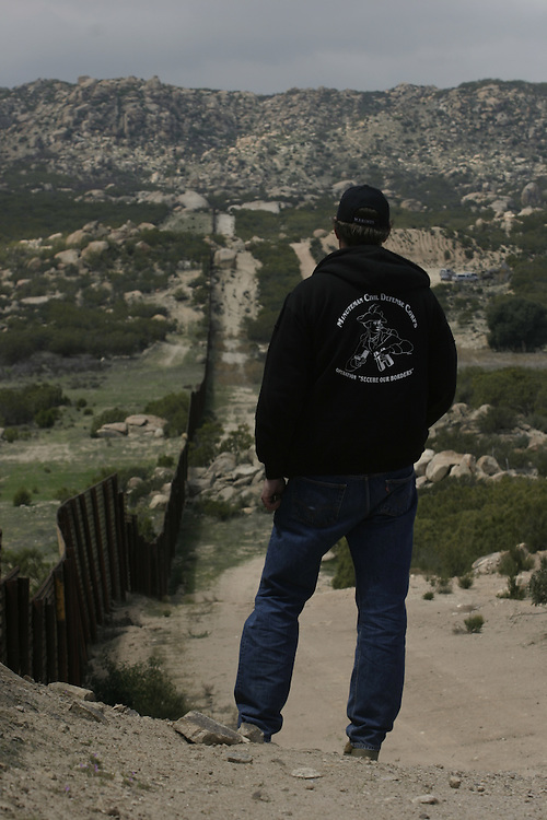 ..Greg Imus a minuteman member patrolling the U.S  border in Boulevard about 65 miles (104.6 km) east of downtown San Diego try to stop undocumented immigrants that try to cross the border to the U.S ..20 of April 2006........