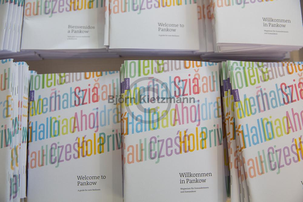 Berlin, Germany - 13.06.2017<br /> <br /> &quot;Willkommen in Pankow&quot;-Broschueren in der neuen Fluechtlingsunterkunft in Berlin-Buch. In der Wolfgang-Heinz-Strasse laufen die letzten Vorbereitungen, bevor in wenigen Wochen bis zu 450 Fluechtlinge aus Notunterkuenften in die Gemeinschaftsunterkunft einziehen koennen.<br /> <br /> Photo: Bjoern Kietzmann