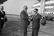 03/07/1963<br /> 07/03/1963<br /> 03 July 1963<br /> American executives of N.C.R. visit Dublin. Two top executives of the Dayton, Ohio, headquarters of the National Cash Register Company, one of the world's foremost manufacturers of cash registers, accounting machines and electronic computers, visiting Dublin. Picture shows Mr George Haynes (left) Vice President International Operations N.C.R., Dayton Ohio, being welcomed on arrival at Dublin Airport by Mr D.H. Triggs, Assistant Manager Accounting Machine Division N.C.R., terminal on right.