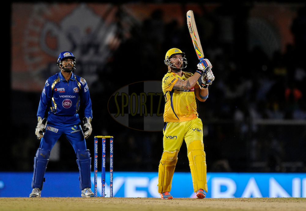 Brendon McCullum of The Chennai Superkings bats during the eliminator match of the Pepsi Indian Premier League Season 2014 between the Chennai Superkings and the Mumbai Indians held at the Brabourne Stadium, Mumbai, India on the 28th May  2014<br /> <br /> Photo by Pal PIllai / IPL / SPORTZPICS<br /> <br /> <br /> <br /> Image use subject to terms and conditions which can be found here:  http://sportzpics.photoshelter.com/gallery/Pepsi-IPL-Image-terms-and-conditions/G00004VW1IVJ.gB0/C0000TScjhBM6ikg