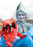 Blue teapot Theatre Company was the high light of theThe best  Galway St Patrick's Day Parade in years with a hugely international feel to it . Photo:Andrew Downes