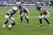 Seattle Seahawks rookie defensive back Mike Tyson (40) and Seattle Seahawks defensive back Marcus Cromartie (43) double team cover Los Angeles Chargers rookie wide receiver Artavis Scott (82) as he goes out for a pass during the 2017 NFL week 1 preseason football game against the against the Los Angeles Chargers, Sunday, Aug. 13, 2017 in Carson, Calif. The Seahawks won the game 48-17. (©Paul Anthony Spinelli)