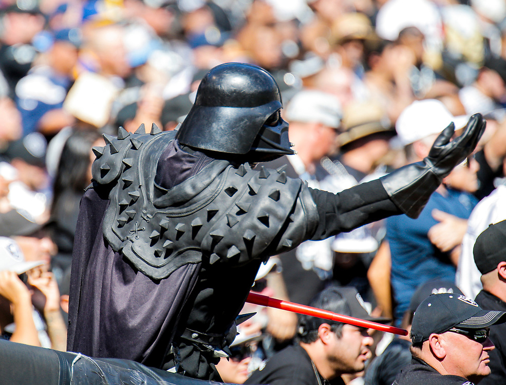 Oct 09 2016 - Oakland U.S. CA - Oakland Raiders fan as Darth Vader during the NFL Football game between San Diego Chargers and the Oakland Raiders 34-31 win at O.co Coliseum Stadium Oakland Calif. Thurman James / CSM