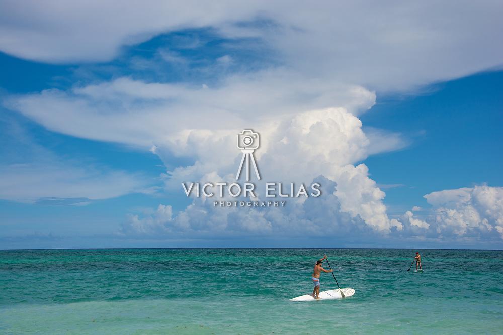 Paddle boarding at the Banyan Tree Mayakoba. Riviera Maya. Quintana Roo, Mexico.