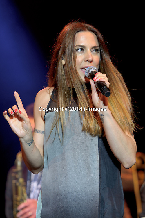 Image ©Licensed to i-Images Picture Agency. 04/07/2014. Oxford, United Kingdom. Cornbury Festival. Jools Holland Rhythm and Blues Orchestra plus guest Mel C (pictured) perform at Cornbury Music Festival. Picture by i-Images