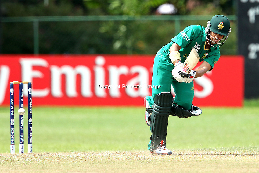 JP Duminy is bowled by James Franklin during the ICC Twenty 20 World Cup warm up match between New Zealand and South Africa held at the Colts Cricket Club in Colombo, Sri Lanka on the 17th September 2012<br /> <br /> Photo by Ron Gaunt/SPORTZPICS/PHOTOSPORT
