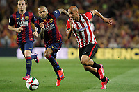 Barcelona´s Dani Alves (L) and Athletic de Bilbao´s Mikel Rico during 2014-15 Copa del Rey final match between Barcelona and Athletic de Bilbao at Camp Nou stadium in Barcelona, Spain. May 30, 2015. (ALTERPHOTOS/Victor Blanco)