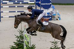 CHARLES Harry (GBR), Utrillo du Roumois<br /> Genf - CHI Geneve Rolex Grand Slam 2019<br /> Prix des Communes Genevoises<br /> 2-Phasen-Springen<br /> International Jumping Competition 1m50<br /> Two Phases: A + A, Both Phases Against the Clock<br /> 13. Dezember 2019<br /> © www.sportfotos-lafrentz.de/Stefan Lafrentz